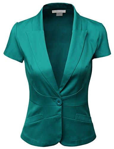 Doublju Women Fashionable Cotton Span Satin Fabric Silm Fit Short Sleeve Blazer TEAL,L