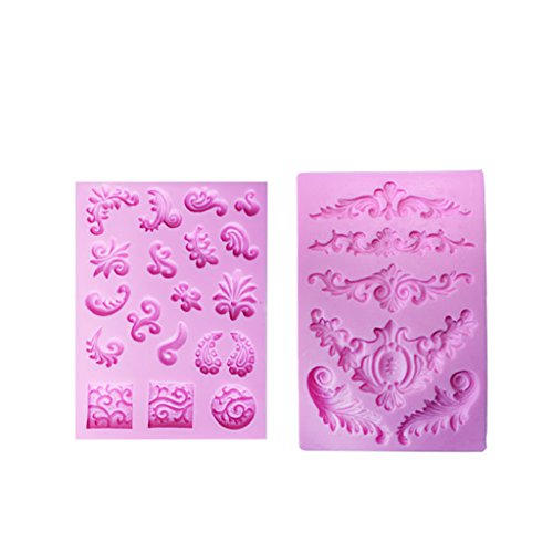 MagiDeal 2 Pieces Baroque Floral Silicone Fondant Cake Mould Chocolate Sugarcraft - Floral Baroque