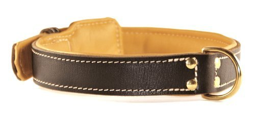 Dean and Tyler  ITALIAN TAILOR , Dog Collar with Nappa Lining and Brass Hardware Brown Size 46cm by 3cm Fits Neck 41cm to 51cm