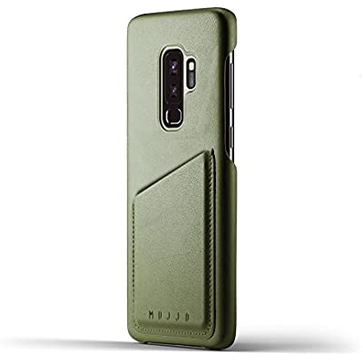 Mujjo Full Leather Wallet Case for Samsung Galaxy Plus Premium Genuine Leather  Natural Aging Effect 2-3 Card Pocket  Wireless Charging  Olive