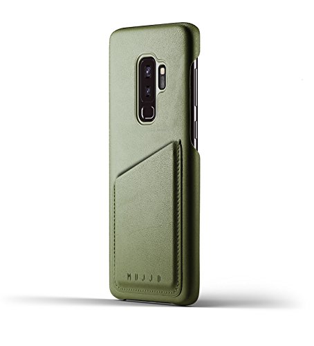 Mujjo Full Leather Wallet Case Compatible with Samsung Galaxy S9 Plus | 2-3 Card Pocket, 1MM Protective Screen Bezel, Japanese Suede Lining (Olive)