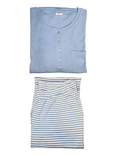 PJ.PIMA Soft Women Pajama Set Pima Cotton Sleepwear for Women (Heavenly Blue/Soft Cream Stripes, Small Tall Fit) ()
