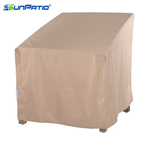 SunPatio Outdoor Oversized Club Chair Cover, Lightweight, Water Resistant, Eco-Friendly, Helpful Air Vent, All Weather Protection, Beige, 40