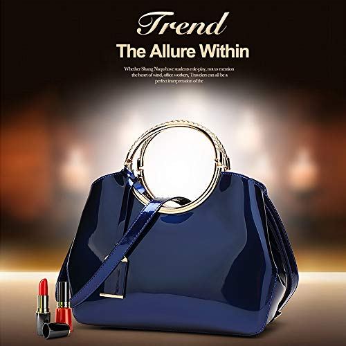 for Zipper Red with Wine Patent Women Royal Bright EDLUX 5 Ladies Bag x x Messenger 10 with Blue Bag Leather Fashion Claret Wedding Cotton Handbag 28 Pattern 22cm Bag Shoulder Polyester xw4xBHqY