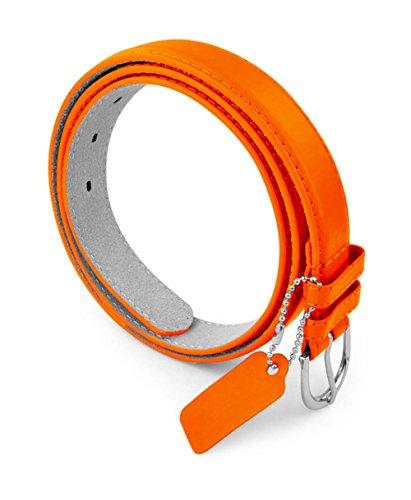 Womens Chic Dress Belt Bonded Leather Polished Buckle - Orange 2X-Large ()