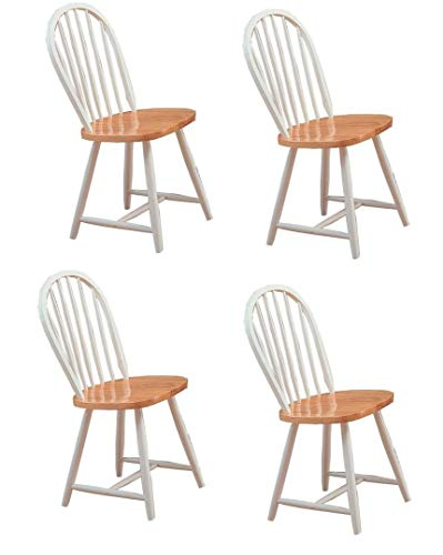4 Chairs Coaster - Hesperia Windsor Dining Side Chairs Natural Brown and White (Set of 4)