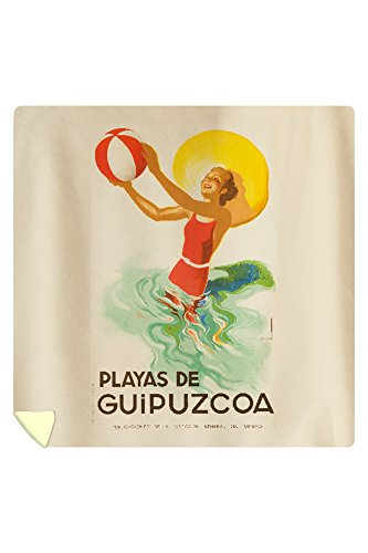 Playas de Guipuzcoa Vintage Poster (artist: Morell) Spain c. 1940 (88x88 Queen Microfiber Duvet Cover) by Lantern Press