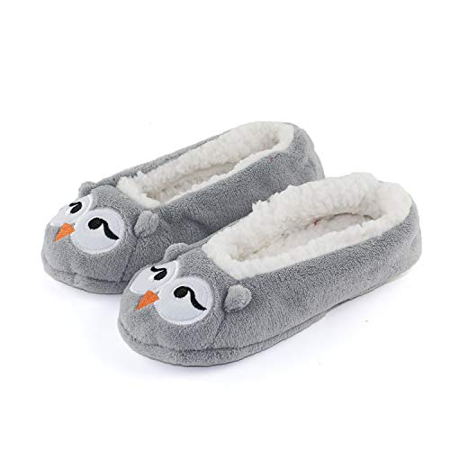 Womens Warm Cozy and Lovely Animal Non-Skid Knit Indoor Home Floor Slippers Socks for Adults Girls ... (4-6, Grey Owl)