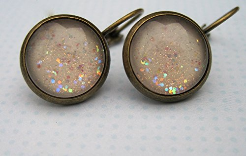 Iridescent Winter Costumes (Antiqued Gold-tone Winter White Glitter Glass Lever-back Drop Galaxy Earrings Hand-painted)