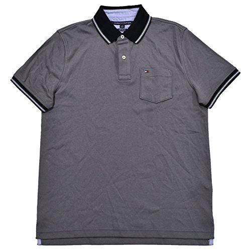 Tommy Hilfiger Mens Custom Fit Interlock Pocket Polo Shirt (Large, Gray) - Tommy Hilfiger Polo Rugby