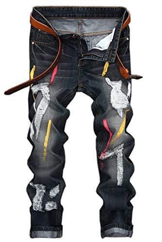 Colour Coste In Stampa Pantaloni Denim Jeans Diritto Moderna Casual A Da Taglio Haidean Vintage Uomo Dritti Con 4WawgRqgHx