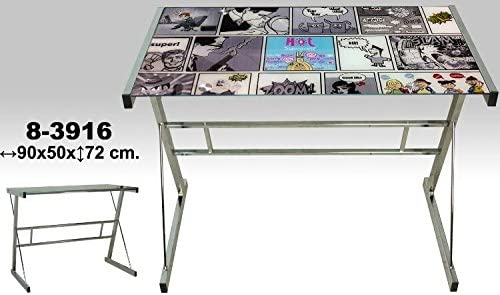 DONREGALOWEB Escritorio - Mesa de Metal y Cristal con Comics y ...