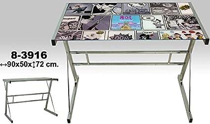 DONREGALOWEB Escritorio - Mesa de Metal y Cristal con Comics y 5mm ...