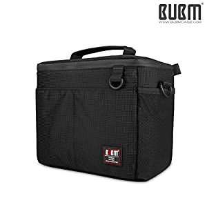 DSLR Camera Bag -BUBM Digital Camera Case Outdoor Shoulder Bag for Nikon, Canon, Sony,Waterproof and Heavy Duty Camera Insert Including Padded Divider and Shoulder Strap,2 Year Warranty(Black-M) from BUBM