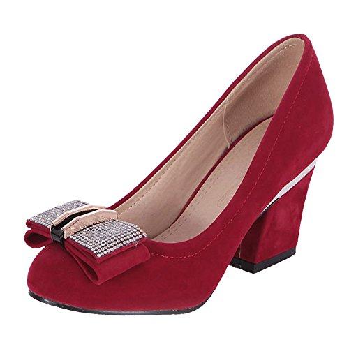 Carol Shoes Women's Charm Elegant High Heel Rhinestones Bows Court Shoes Red I7QH9
