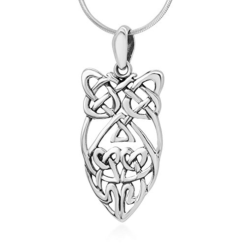 Sterling Silver Owl Pendant - 925 Sterling Silver Open Celtic Knot Abstract Wisdom Owl Pendant Necklace for Women, 18