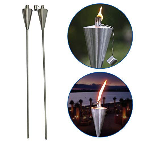 "Patio Torch - 2 Pack - tiki Outdoor Garden Oil Lamp Lanterns with Decorative Stainless Steel Canister and Stand Stake - 45 Inches Tall - Thick, 7.5"" Long Lasting Fiberglass Wick - Includes 2 Torches"
