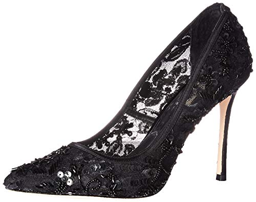 Badgley Mischka Women's Veronica Pump, Black lace, 8.5 M US ()