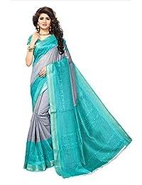 Shonaya Womens Grey & Turquoise Colour Bhagalpuri Silk Printed Saree