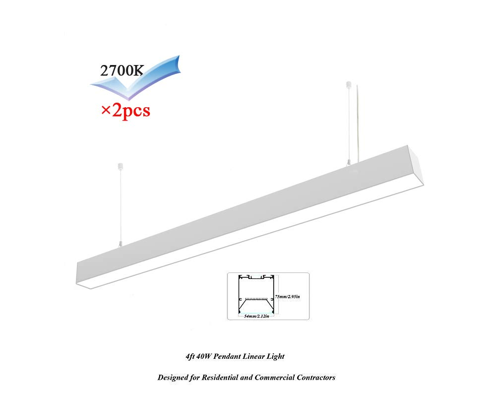 hanks 2pcs 75x54mm ac100 240v 0 10v dimmable linkable linear pendant  hanks 2pcs 75x54mm ac100 240v 0 10v dimmable linkable linear pendant lighting systems for architects and designers (4ft 40w 2700k dimmable) amazon com