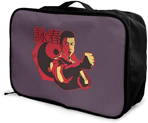 アレンジケース Wing Chun 詠春拳 旅行用トロリーバッグ 旅行用サブバッグ 軽量 ポータブル荷物バッグ 衣類収納ケース キャリーオンバッグ 旅行圧縮バッグ キャリーケース 固定 出張パッキング 大容量 トラベルバッグ ボストンバッグ