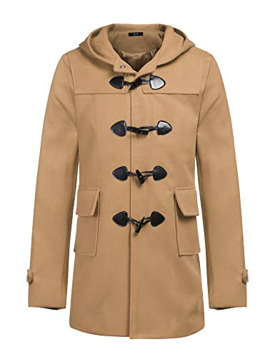 COOFANDY Men Autumn Fall Thick Wool Blend Stylish Classic Hooded Pea Coat Jacket