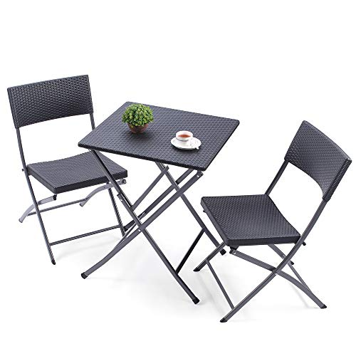 TAVR Outdoor PE Rattan Furniture Foldable Patio Square Table and Chairs, Small Garden 3-Piece Bistro Set, All Weather Resistant Resin Wicker,Black,CH1004