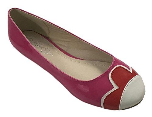 Nichole Simpson Nicole Simpson Kvinners Slip-on Petal Patent Ballerina Flate Sko Fuchsia