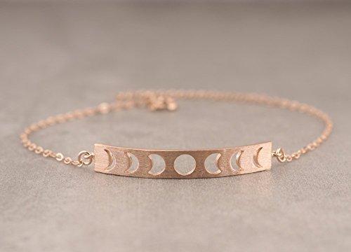 Moon Phases Bar Rose Gold Fill Sterling Silver 925 Bracelet