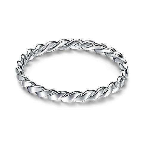 AVECON 925 Sterling Silver Celtic Knot Promise Ring, 1 MM Stackable Twist Design Infinity Wedding Band for Women (D-Silver, 6)