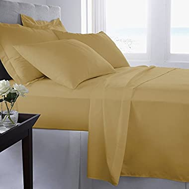 The Candor 800tc 4pc Sheet Set Call King Size Gold Solid Color 100% Egyptian Cotton Easy Care
