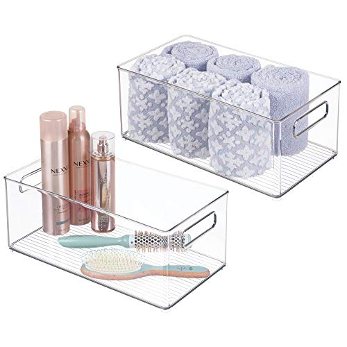 mDesign Stackable Deep Plastic Storage Bin Tote with Handles for Organizing Cosmetics, Makeup Palettes, Body Wash, First Aid, Vitamins, Supplements, Hair Styling Accessories, 2 Pack - Clear