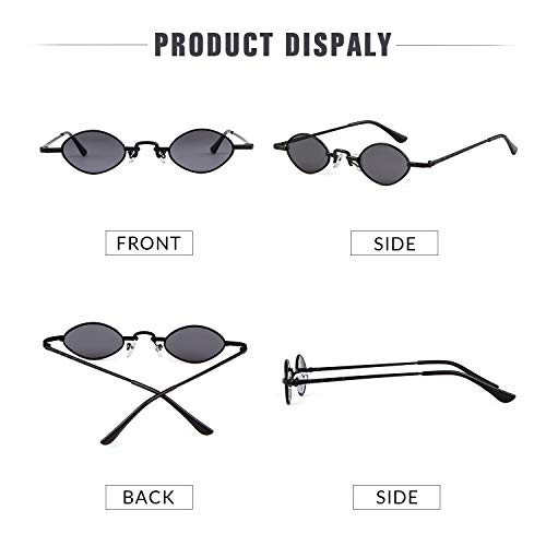 De Pour Retro Femmes Lunettes Gris cadre Glasses Petites Adewu Hommes Ovale Vintage Noir lentille Soleil Ovales qw8EWpT