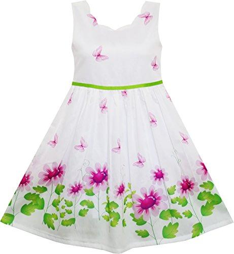 Sunny Fashion Girls Dress Purple Sunflower Green Leaves Butterfly