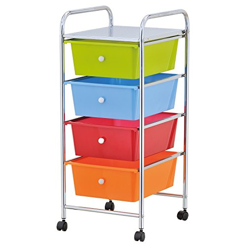 HOME OFFICE CHROME 4 DRAWER STORAGE CART TROLLEY WITH WHEELS PORTABLE RACK Empire Home solutions