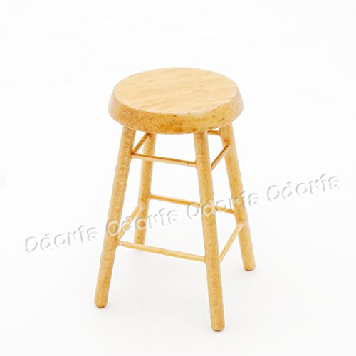 Miniature Toy Wood (Odoria 1:12 Miniature Wood Barstool Counter Stool Dollhouse Furniture Accessories)