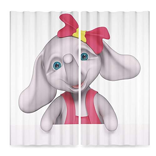 TecBillion Elephant Nursery Decor Bedroom Curtains Blackout,Cheerful Baby Girl Smiling Elephant 3D Cartoon Style Print,for Living Room, 2 Panel Set,28W X 39L -