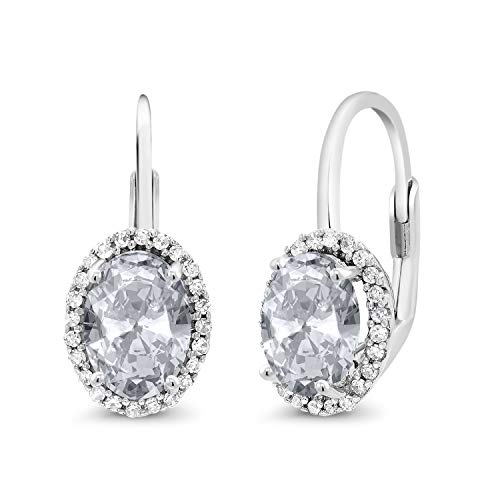 - Gem Stone King 10K White Gold 2.34 Ct Oval White Topaz White Diamond Halo Lever-Back Earrings