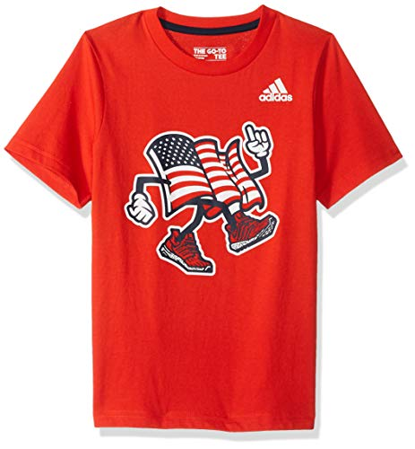 - adidas Boys' Toddler Short Sleeve Graphic Tee Shirt, USA ADI red, 2T
