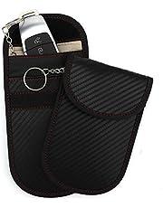 SAVITA 2Pcs Faraday Key Fob Protector Anti-Theft Car RFID Signal Blocking Case Faraday Pouch for Car Keys (Carbon Fiber Black)