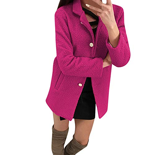 Byyong Women Winter Fashion Solid Single-Breasted Notched Fluffy Pocket Jacket Long Sleeve Outwear Coat(S, Hot Red)