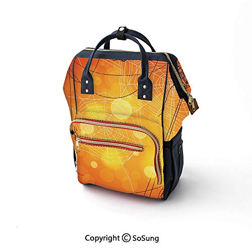 Halloween Diaper Backpack,Spiders Arachnid Insects Cobweb Thread Trap on Abstract Bokeh Backdrop Decorative Multi-Function Travel Backpack,16.5x10.6x6.7inch,Orange Yellow White