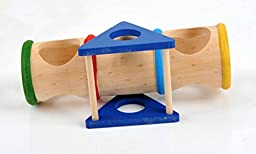 Small Animal Playground Cylinder Wooden Seesaw for Drawf Hamsters Mice and other Small Furry Animals, Small