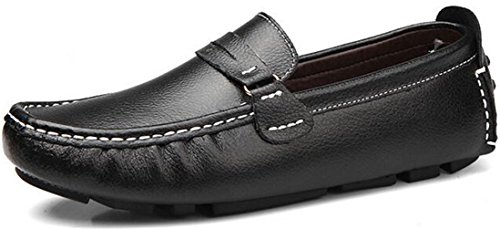 Oxford Loafers Leather Driving Slip Shoes PPXID On Mens Black Casual wRnvna4q
