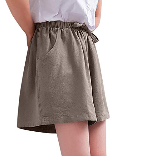 UOFOCO Solid High Waist Casual Beach Shorts Women Cotton and Linen Pants Khaki ()