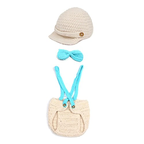 Shubuy Newborn Baby Bow Tie Three-piece Knit Hat Costume Outfit Set Infant Baby Photography Prop Outfit Set (0-4 months old, -