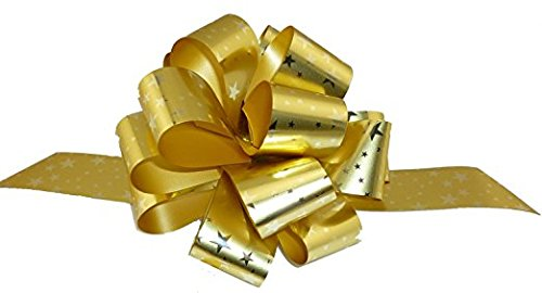 """Gold Stars Christmas Gift Wrap Pull Bows - 5"""" Wide, Set of 10"""