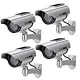 AlfaView Solar Powered Bullet Dummy Fake Surveillance Camera Security CCTV Dome Camera with LED Flashing Light for Outdoor/Indoor,Home/Business (4 Pack)