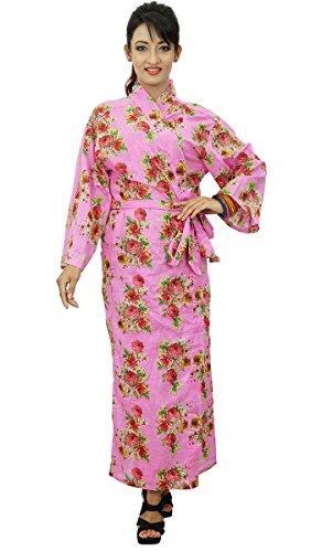 Kimono cruce del traje del algodón floral Batas boda Novia que consigue listo Rosado