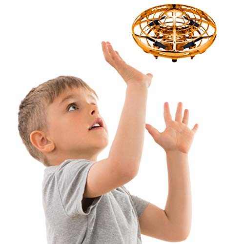 Hand Operated Drones for Kids or Adults - Scoot Hands Free Mini Drone Helicopter, Easy Indoor Small Orb Flying Ball Drone Toys for Boys or Girls (Gold)